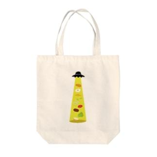 キャトラレバーガー Tote bags