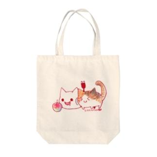 ねこさんと三毛猫とリンゴ Tote bags