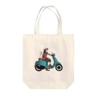 ねこと一緒にバイクで買い物へ Cat and go shopping with bike  Tote bags
