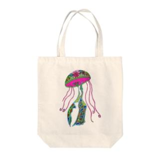 幸せを呼ぶメヘンディアート【クラゲ】 Tote bags