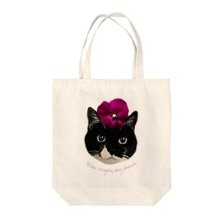 パンジー・クマ Tote bags