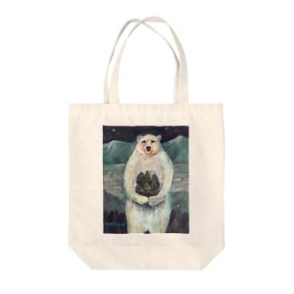 木を植えるシロクマさん Tote bags