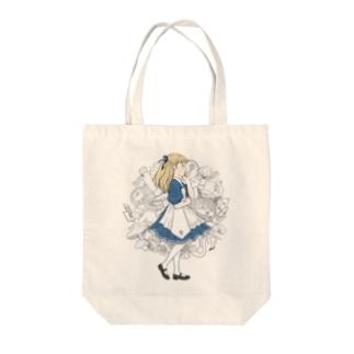 不思議の国のアリス Tote bags
