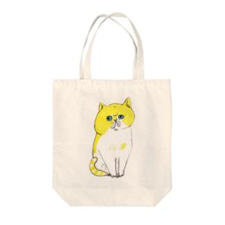 黄ネコ Tote bags