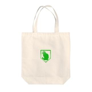 Enlightened Green Cat Tote bags