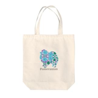 花 ポメラニアン Tote bags