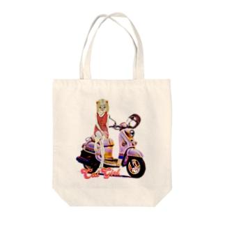 CAT GIRL BIKE Tote bags