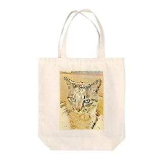 眠いトラ猫マーブル Tote bags
