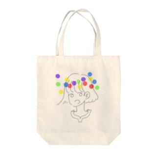 ポップレインボーガール Tote bags
