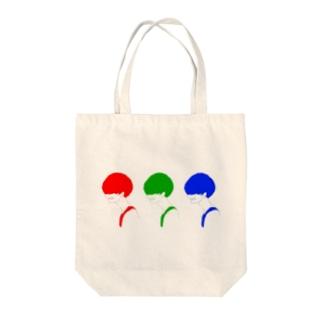 カラフルマッシュくん Tote bags