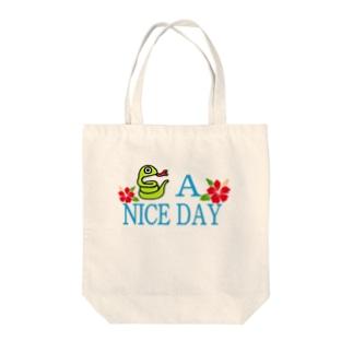 ハブ a nice day Tote bags