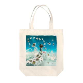 Alice walking in the sky Tote bags