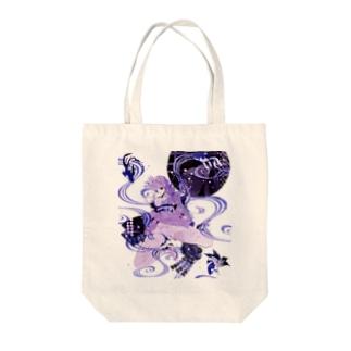 和柄 青の金魚姫3 藤紫 キモノガール Tote bags