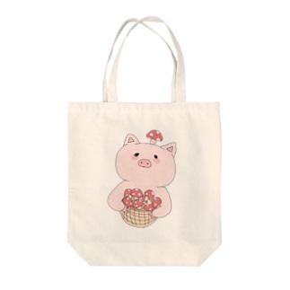 きのこ狩り豚ちゃん Tote bags