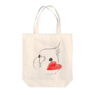 ハートほっぺオカメ Tote bags