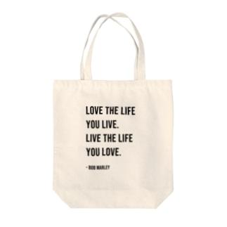 Hello BoB Marley `LOVE LIFE!!` Tote bags