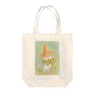 麦藁帽子をかぶった猫 ひまわり Tote bags