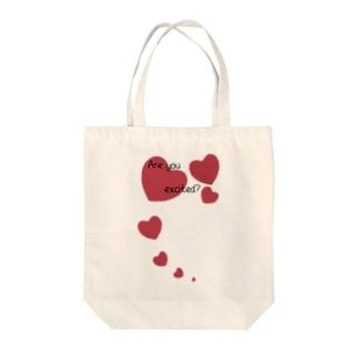 ハート Are you excited? Tote bags
