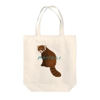 レッサーパンダ(文字有り) Tote bags