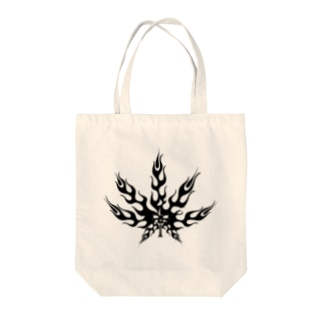 麻の葉 炎 トライバル 黒 Tote bags