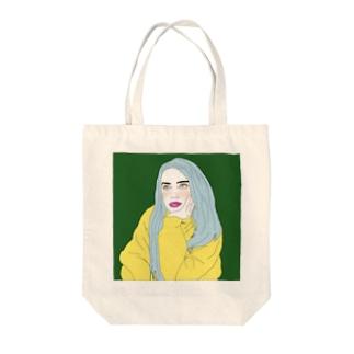 Blue Hair Girl Tote bags