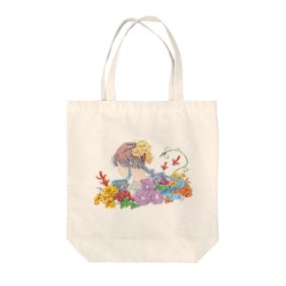 『日本のきもの美人』~夏の思い出~ トートバッグ Tote bags