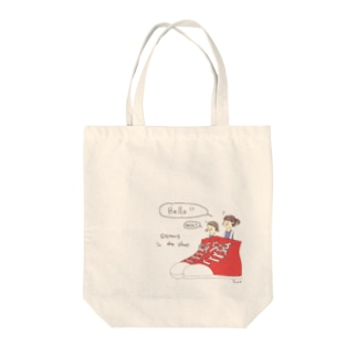 Sister in the shoes(レッド) Tote bags