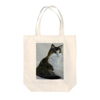 猫のデザイン 油絵 Tote bags