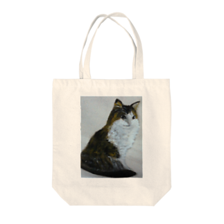 タコ夜勤@スタンプ制作致しますの猫のデザイン 油絵 トートバッグ