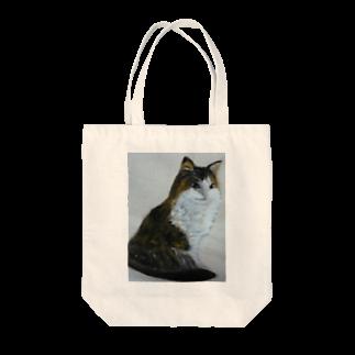 タコ夜勤@スタンプ制作致しますの猫のデザイン 油絵 Tote bags