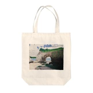 海辺のデザイン 油彩風 トートバッグ