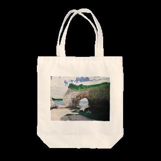 タコ夜勤@スタンプ制作致しますの海辺のデザイン 油彩風 トートバッグ