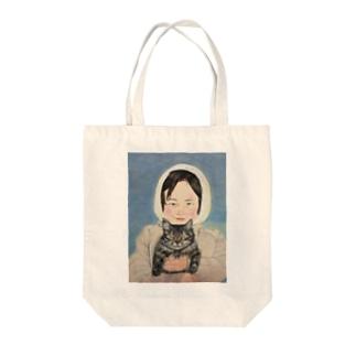少女のデザイン Tote bags