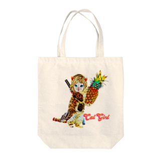 Rock catのCAT GIRL パイナップル Tote bags