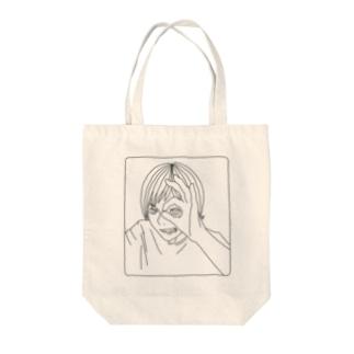 がつののぞきみ(黒) Tote bags