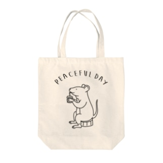 Peaceful Day ネズミ 動物イラスト Tote bags