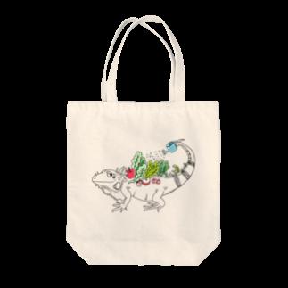 Aya@爬虫類グッズの自給自足イグアナ Tote bags