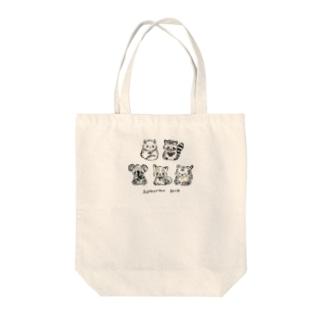 黒文字:小さい柄お絵かき書道インストラクターT Tote bags