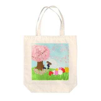 想い桜の下で Tote bags