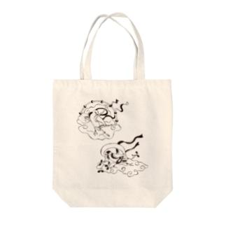文鳥風神雷神図 モノクロ Tote bags