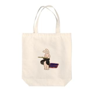 フルートうさぎ Tote bags
