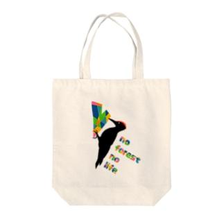 クマゲラ★キツツキ Tote bags