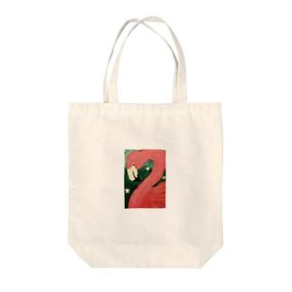おはなとフラミンゴちゃん Tote bags