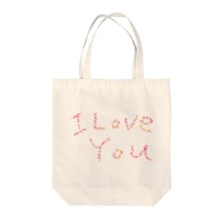 I Love You Tote bags