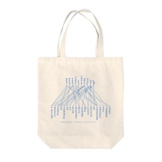 「線で結びなさい」青文字 Tote bags