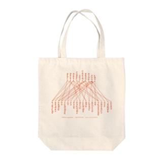 「線で結びなさい」赤文字 Tote bags