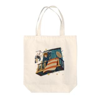 夜行漫遊バルコニー Tote bags