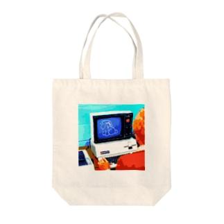 momotoseのコンピュータ犬 Tote bags