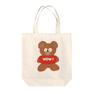 モコモコのおどろきクマちゃん Tote bags