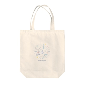 blue anchor マリンモチーフグッズ Tote bags